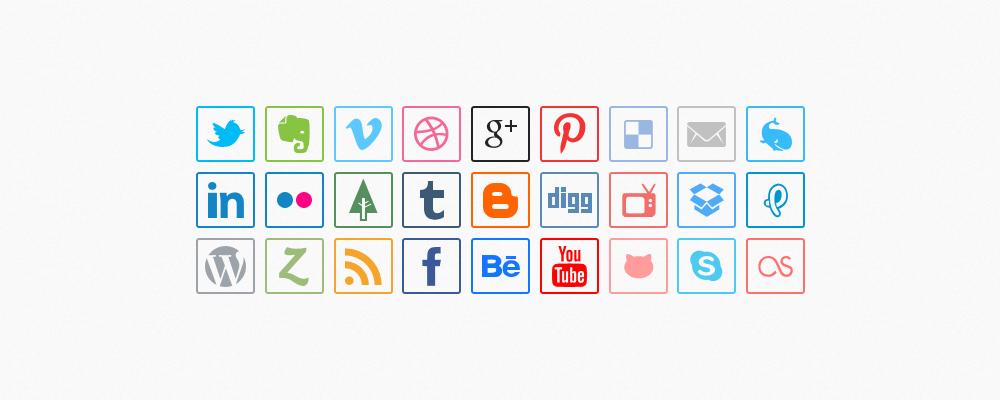 Psd Minimal Social Media Icons