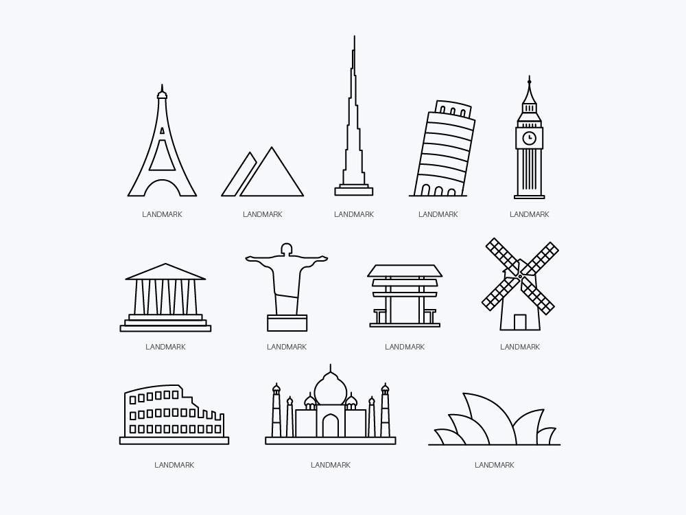 Free Vector Landmark Icons