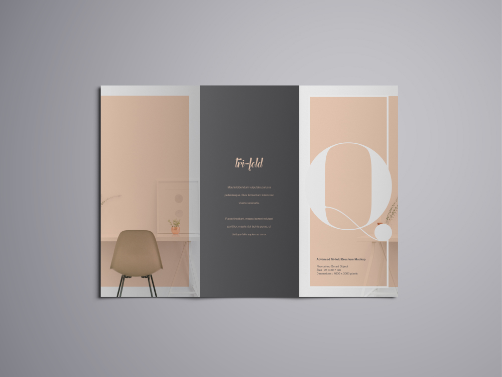 closed trifold brochure mockup