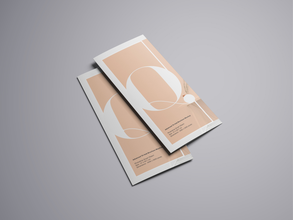 two trifold brochure mockup