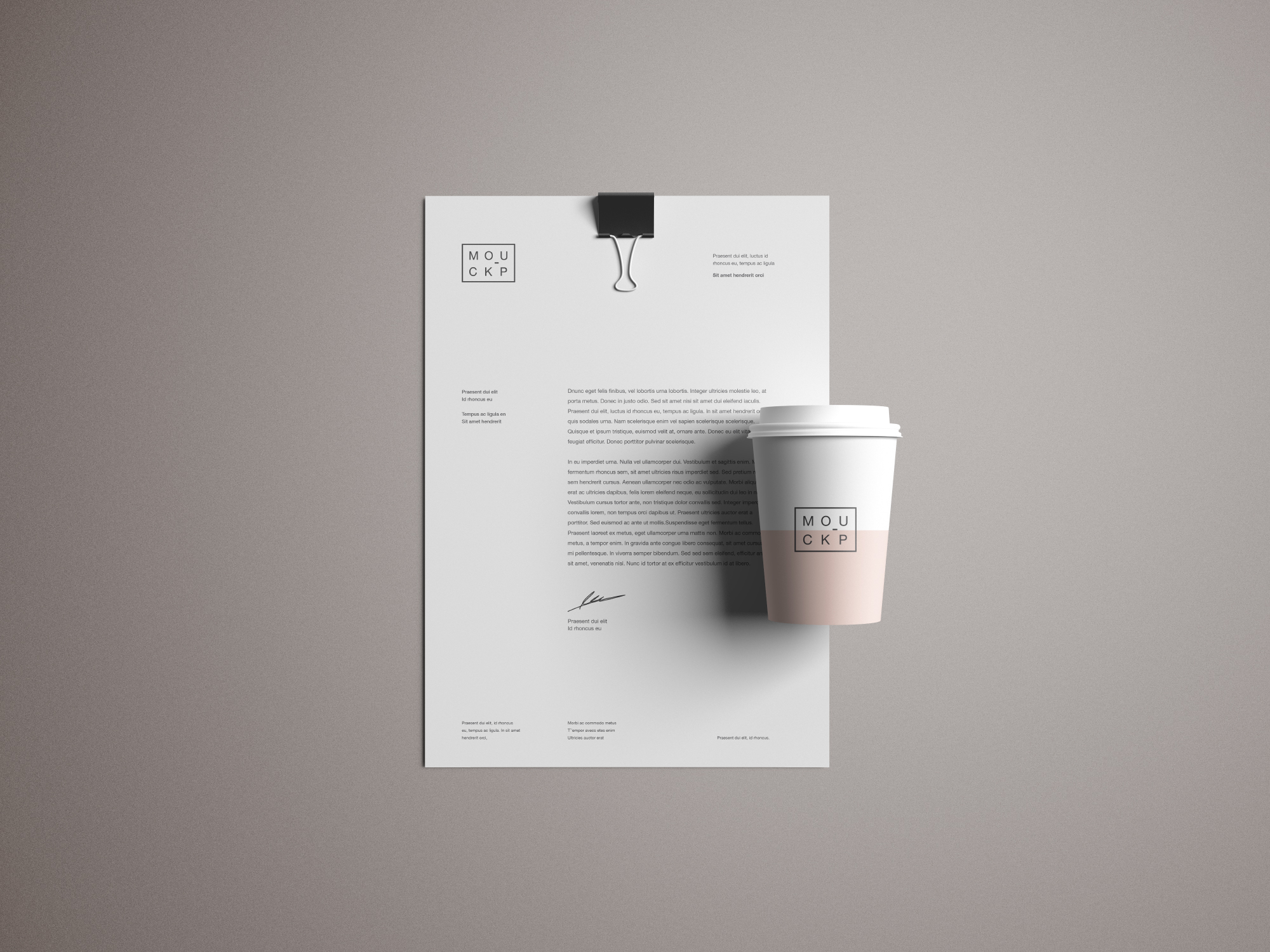 Stationery - Letterhead and Cup Mockup
