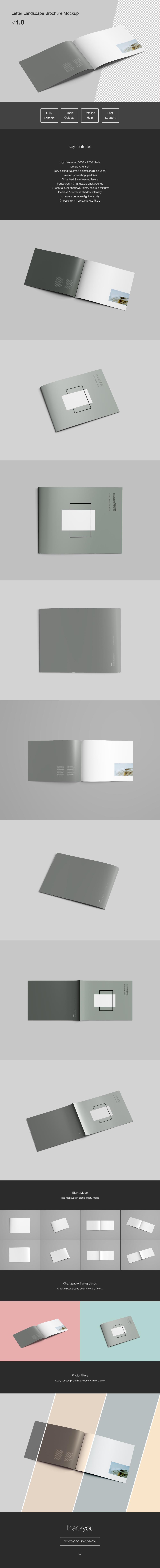 Letter Landscape / Horizontal Brochure Mockup